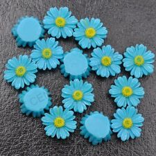 20Pcs  Blue Resin Sunflower flower flat back  DIY Charms Bead /have hole 12MM