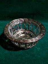 Arcoroc France Clear Glass Bowl in Woven Silver Basket Candy Trinket Dish