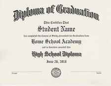 Custom Home School Diploma-Your Home or Private School- Professional Printing
