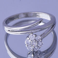 Womens Crystal Flower Wedding Ring For Bridal 18K Gold Plated  Size 7