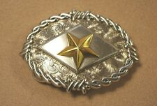 Texas Star Barbed Wire Antique Silver Plaited Trophy Belt Buckle new uk stock