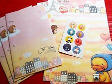 6X+3X Go Go Trip Letter Pad Writing Color Paper Envelope Stickers Stationery D-2