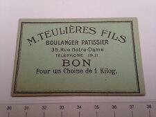 Billet Bon  de Necessité 1 kilo de pain Carcassonne Boulanger Pâtissier Theulier