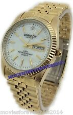 SWANSON JAPAN MEN WHITE PEARL FACE DIAMONDS GOLD TONE WATCH WATER RESISTANCE