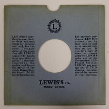 """78rpm 10"""" card gramophone record sleeve LEWIS`S , MANCHESTER"""