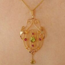 Antique Edwardian Art Nouveau 9ct Gold Peridot & Garnet Pendant Necklace c1905