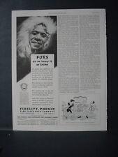 1943 Fidelity-Phenix Fire Insurance Eskimo Furs no Luxury Vintage Print Ad 10875