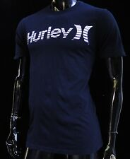 Hurley Surfing Classic Blue Navy White Logo Mens T shirt size Medium HRL-76
