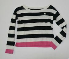 Abercrombie & Fitch Girls Large sweater navy striped moose cropped long sleves