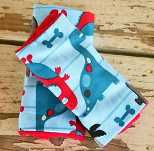 infant/toddler seat strap covers in dinosaurs and red  minky