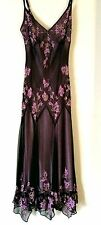 Designer Cocoa Beaded Silk Cocktail Gown Gatsby Roaring 20s Evening Formal Sz 6