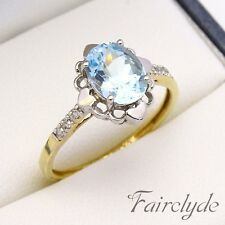 Beautiful 9ct Gold Blue Topaz & Diamond Ring Hallmarked Size N/7 Gift Boxed