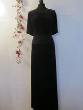 Edel CHOU CHOU Samt Maxi Kleid Schwarz Abendkleid Festlich Perlen Gr.44 Neu 4052
