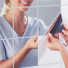 New Arrival  9Pcs Square Mirror Tile Wall Stickers 3D Decal Mosaic Home