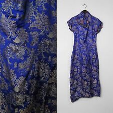 SILK METAL ZIPPER MANDARIN Vintage 50s CAP SLEEVE ASIAN CHEONGSAM DRESS M