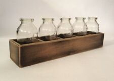 Five Small Glass Milk Bottles Vintage Wooden Crate Wedding Vase Party Shot Glass