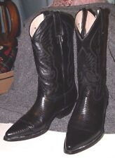 El Regio Boots Solid Black Leather Pointed Toe Cowboy Boots Size 9 Mens