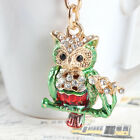 Lovely Mini Owl Bird Charm Pendant Rhinestone Crystal Key Ring Key Chain Gift