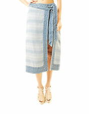 Free People Women's New Denim Midi Skirt Zip Closure  Blue Size XS BCF66