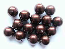 15 12mm large dark brown glass pearl beads