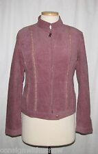 St John Sport Dark Tea Rose Corduroy Jacket & Multi-Color Knit Slvless Top Sz M