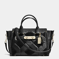NWT COACH Patchwork Pebble Leather Swagger Handbag Satchel Black 36004 Gold $695