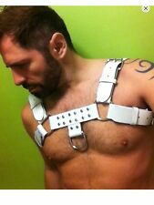 "NEW MENS LEATHER HARNESS DELUXE WHITE CIRCUIT PARTY ""H"" BULLDOG HANDMADE"