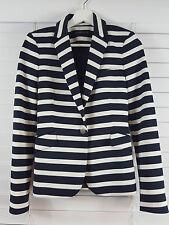 ZARA sz XS (or 8 ) womens white & black stripes Blazer / Jacket [#1340]