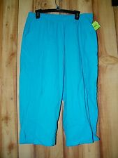 NWT CATHY DANIELS TURQUOISE ELASTIC WAIST POCKETS COTTON CROPPED PANTS SZ 32X19