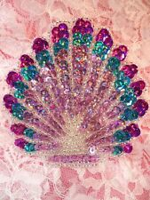 Seashell Applique Sequin Beaded Multi-color Mauve Nautical Patch 3.25""