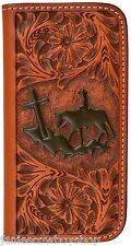 LEATHER WESTERN CELL PHONE CASE IPHONE 6 PLUS TAN TOOLED-WALLET COWBOY CROSS