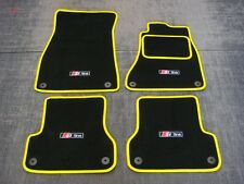 Black/Yellow Car Mats to fit Audi A6 C7 (2011 on) + S-Line Logos (x4) + Fixings