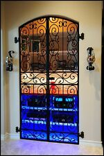 Wrought Iron Forged Wine Cellar Door Gate, Vineyard Winery, 8' Tall Falcon Crest