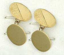 9ct Yellow Gold Oval Engraved Cufflinks Made in Jewellery Quarter B'ham RRP £603