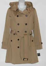 Jones New York Ladies Hooded Double Breasted Belted Trench Coat Toast L NWT