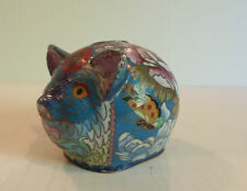 "CUTE VINTAGE CHINESE CLOISONNE ENAMEL ON BRASS SMALL ""PIG"" STILL BANK"