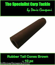 A0242 10 PZ RUBBER TAIL CONES BROWN CONI PER SAFETY CLIP CARPFISHING BOILIES