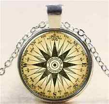 Vintage Compass Cabochon Tibetan silver Glass Chain Pendant Necklace N088