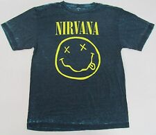 NIRVANA T-shirt Acid Wash Smiley Face Tee Kurt Cobain Grunge Adult XXL 2XL New