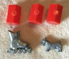 Vintage Monopoly Game Pieces~Scottie Dog Skate 3 Red Hotels