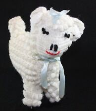 handmade CROCHET PLUSH LAMB SHEEP TOY Mid Century Nursery Keepsake Shabby Chic