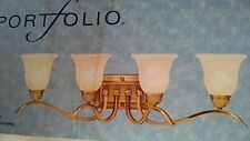 Portfolio 4 Light Wall Mount Antique Brass frosted alabaster glass shades