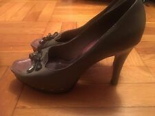 Miucha Grey High Heels Peep Toe Size 10 / 40 Black Bow, Platform with studs