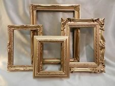 LOT OF FOUR ORNATE PLASTIC GOLD TONE EMPTY / OPEN PICTURE FRAMES (# 21)