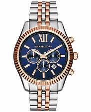 * Nuova * Michael Kors Lexington MEN'S WATCH mk8412-Blu Navy Dial Due Tonalità Cronografo