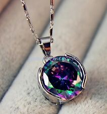 18K White Gold Filled - MYSTICAL Rainbow Round Topaz Women Pendant Necklace