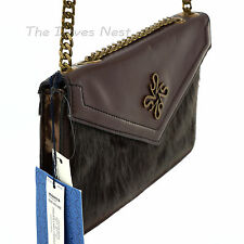SIMPLY VERA WANG Dark BROWN Faux FUR CROSSBODY BAG Bronze GOLD CHAIN STRAP Purse