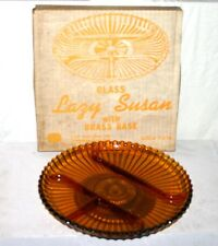 Vintage Indiana Glass Lazy Susan Centerpiece Dish in Box. Amber Glass. NOS
