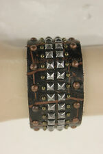 NWOT UNISEX JOE'S JEANS LEATHER STUDDED CUFF BRACELET BROWN STY#JJ5005 ONE SIZE