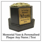 Black & Gold Memorial Flower Vase Grave Pot with Personalised Plaque & Any Text
